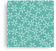 Snowflakes in a green winter sky Canvas Print