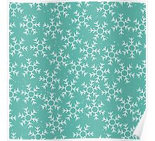 Snowflakes in a green winter sky Poster