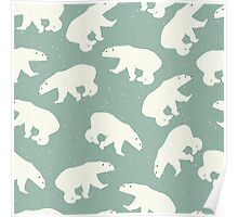 Polar bears on light green background with snow Poster