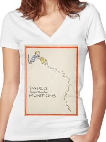 Vintage poster - Paper Helps to Make Munitions Women's Fitted V-Neck T-Shirt