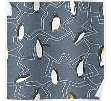 Penguins on dark grey crackle ice - Christmas winter collection Poster