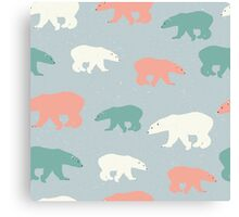 Polar bears in white, orange and green on pale grey background Canvas Print