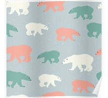 Polar bears in white, orange and green on pale grey background Poster