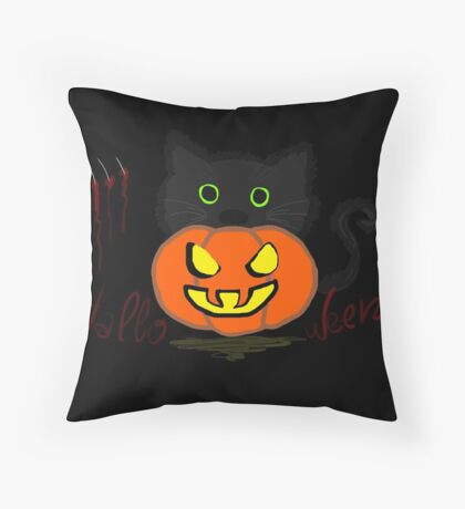 Pumpkin Cat - Halloween Time Throw Pillow