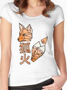 Kitsunebi Fire Fox Yokai Geometric Design Women's Fitted Scoop T-Shirt