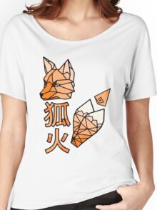 Kitsunebi Fire Fox Yokai Geometric Design Women's Relaxed Fit T-Shirt