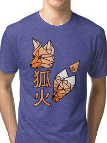 Kitsunebi Fire Fox Yokai Geometric Design Tri-blend T-Shirt