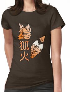 Kitsunebi Fire Fox Yokai Geometric Design Womens Fitted T-Shirt