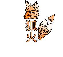 Kitsunebi Fire Fox Yokai Geometric Design Photographic Print