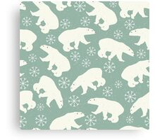 Polar bears and snowflakes on pale green background Canvas Print