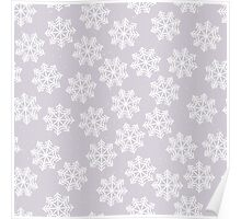 Lace snowflakes on light purple background Poster