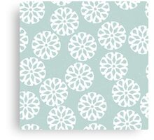 Snowflakes on light green background Canvas Print