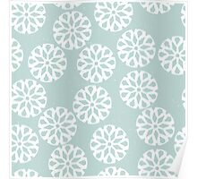 Snowflakes on light green background Poster