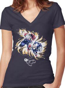 16 Bit Battle Women's Fitted V-Neck T-Shirt