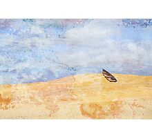 Surreal row boat marooned in the desert Photographic Print