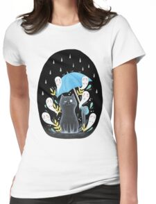 ghost kitty + friends Womens Fitted T-Shirt