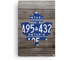 Toronto Maple Leafs License Plate Art Print - Grey Canvas Print
