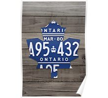 Toronto Maple Leafs License Plate Art Print - Grey Poster