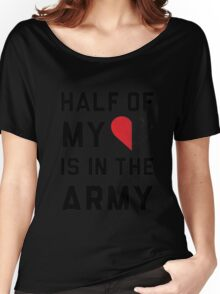 Cotton Half My Heart Is In The Army Crewneck T-Shirt (White, XXL) Women's Relaxed Fit T-Shirt