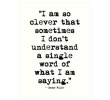Oscar Wilde Cleverness Art Print