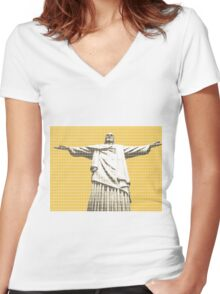 Christ the redeemer - Yellow Women's Fitted V-Neck T-Shirt
