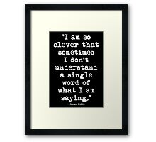 Oscar Wilde Cleverness White Framed Print