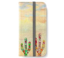 Colorful mosaic cactus on textured rendered wall iPhone Wallet/Case/Skin