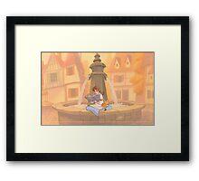 Belle reading Framed Print