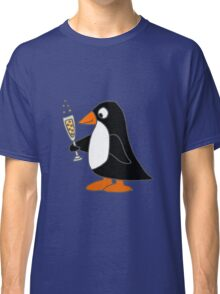 Funky Cute Penguin with Champagne Classic T-Shirt