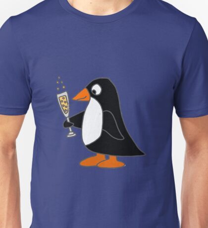 Funky Cute Penguin with Champagne Unisex T-Shirt