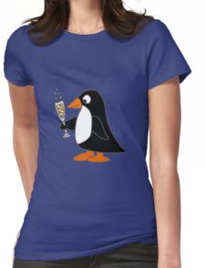 Funky Cute Penguin with Champagne Womens Fitted T-Shirt