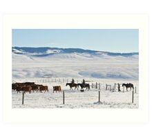 Cowboys in den winterlichen Rocky Mountains Art Print