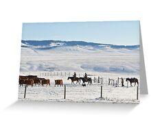 Cowboys in den winterlichen Rocky Mountains Greeting Card