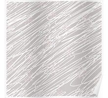 Swirling snow storm blizzard with pink snowflakes on light grey Poster