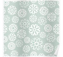 Pretty snowflakes on a pale green background Poster