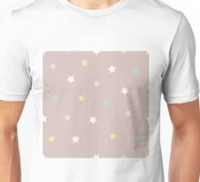 Stars in yellow, pink, white and blue on a pinky brown background Unisex T-Shirt