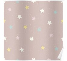 Stars in yellow, pink, white and blue on a pinky brown background Poster