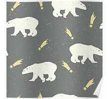 Polar bears and shooting stars on a snowy grey background Poster
