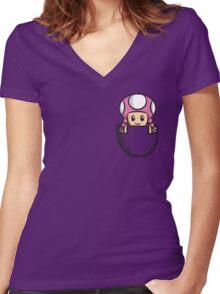 Pocket Toadette Women's Fitted V-Neck T-Shirt
