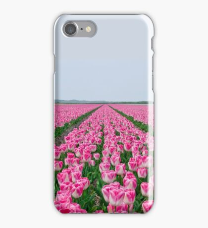 Field of White and Pink Tulips iPhone Case/Skin