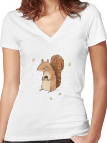 Sarah the Squirrel Women's Fitted V-Neck T-Shirt