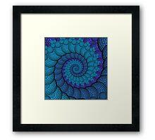 Blue Peacock Fractal Spiral Framed Print