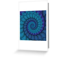 Blue Peacock Fractal Spiral Greeting Card