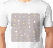 Snowflakes and stars on a snowy pink brown background Unisex T-Shirt