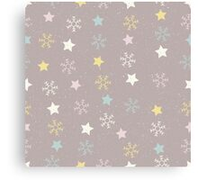 Snowflakes and stars on a snowy pink brown background Canvas Print