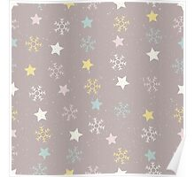 Snowflakes and stars on a snowy pink brown background Poster