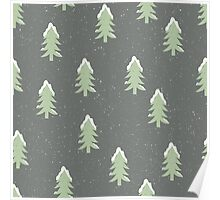 Christmas trees covered in snow on a snowy grey green background Poster