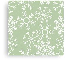 Cool snowflakes design on a pale green pastel background Canvas Print