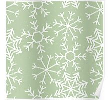 Cool snowflakes design on a pale green pastel background Poster