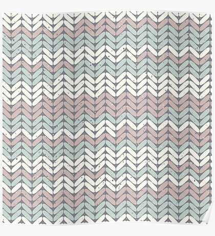 Winter woolies chunky knitting design to keep you warm in pastel pink and green Poster